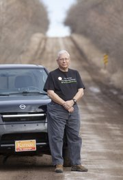 Larry Hornbaker is a member of the Kansas Explorer's Club and is on a quest to drive at least 25 miles of dirt roads in every Kansas county.