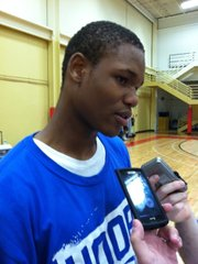 Ben McLemore meets with the media after announcing his decision to attend Kansas University on Sunday, April 3, 2011.