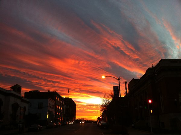 The sun sets over downtown Lawrence April 5, 2011.