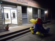 The Classic Jayhawk sculpture sits outside the KU Public Safety office Saturday morning after an attempt was made to steal it. The sculpture was taken inside the building for safe keeping.