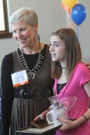 United Way's Wallace Galluzzi awards went to Katie Becker, left, of Douglas County CASA Inc., and McKenzie Brungardt, who volunteers for the American Red Cross. The awards were given during a Celebration of Volunteers luncheon at Carnegie Library Tuesday April 12, 2011.