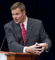 Kansas Secretary of State Kris Kobach spoke on the economic and security effects of illegal immigration during the KU School of Business' annual J.A. Vickers Sr. and Robert F. Vickers Memorial Lecture Tuesday, April 12, 2011, at the Lied Center.