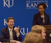 Gov. Sam Brownback is introduced before the start of the KU Energy Conference at the Oread Hotel Thursday, April 14, 2011. The conference was sponsored by the KU Energy Club.