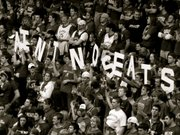 Students at a Kansas University basketball game use letters to spell out the famous Sherron Collins wisecrack &quot;Ain&#39;t No Seats&quot; during a game in February 2009. 
