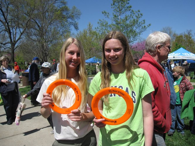 Chloe Burns, left, and Laura Kennard, both 13 and Southwest Junior High School students, enjoyed the Earth Day Celebration on Saturday, April 16, 2011, at South Park. More than 1,000 people attended the event that had 75 earth-friendly booths.