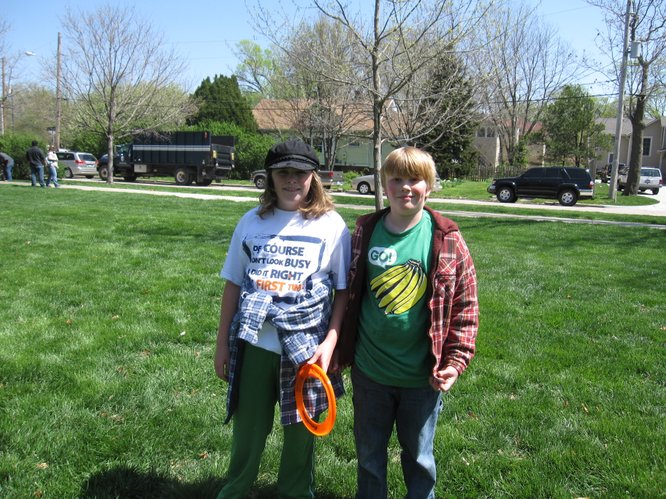 Jonah Drake, 10, and Zane Drake, 8, both of Tonganoxie, enjoy the Earth Day Celebration in South Park.