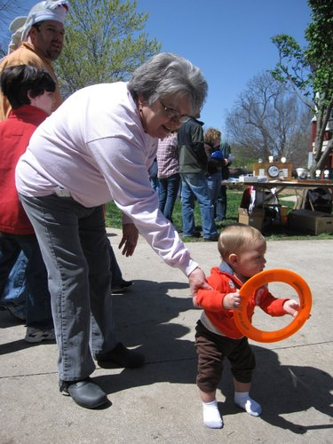 Kathy Smith, Lawrence, and her great-grandson Dylon Towne, 9 months, attend the Earth Day Celebration in South Park.