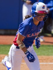Kansas Maggie Hull sprints to first base during Kansas softball game against Baylor Saturday, April 16, 2011 at Arrocha Ballpark. The Bears defeated the Jayhawks, 9-3.