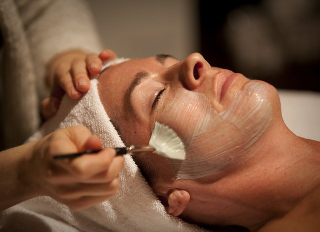 Esthetician Desiree Burr brushes on a mask for Jackie Castillo during a demonstration of the Glow Facial at Salon Di Marco & Day Spa, 733 Mass. A spa treatment for some royal pampering might be just the thing for Mother's Day or any other special occasion on the books.