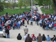 Several hundred people rallied at the Capitol on Wednesday in support of funding of services and programs for those with disabilities.