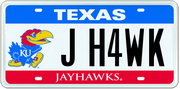 A proposed design of Kansas University license plate in the state of Texas.