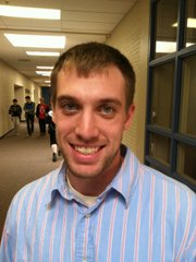 Andrew Bissonnette, a student teacher at West Junior High School. He is a senior at Kansas University.