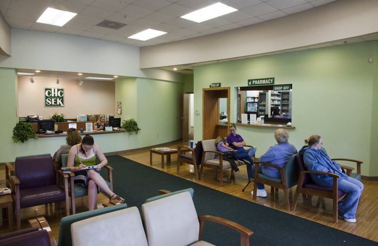 The patient waiting room at the Community Health Center of Southeast Kansas in Pittsburg.