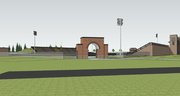 This architectural rendering shows plans for an arched entryway at Lawrence High School's stadium. This view looks at the stadium from the southeast. The project is being financed through donations generated through LHS Building on Traditions.