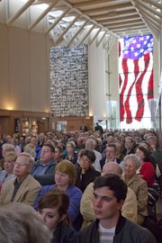 The main hall at the Robert J. Dole Institute of Politics Sunday was packed with spectators to see Washington Post reporter Bob Woodward deliver the 2011 Dole Lecture.