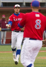 Kansas pitcher Scott Heitshusen, left, tosses the ball to first baseman Wally Marciel for the final out against Alabama A&M on Sunday, May 15, 2011 at Hoglund Ballpark.