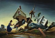 "This picture shows the painting ""Flood Disaster"" by Thomas Hart Benton, which will be auctioned at Sotheby's in New York on Thursday, May 19, 2011. The painting, created to highlight the damage caused when the Kansas and Missouri rivers swelled to 70 times their normal size on July 13, 1951, goes on the block just as the swollen Mississippi River threatens residents of the South."
