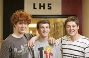 Soon-to-be Lawrence High graduates Matt Zabel, Stephen Bell and Collin Belcher have been classmates since they were junior high students at Southwest. All three plan to pursue degrees in mechanical engineering at Kansas University in the fall.