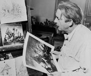 Thomas Hart Benton holds a lithograph of his painting showing a family returning to their home after a disastrous flood in the Kaw River Valley, while he looks at the original sketch and also original a copy of his painting for the same subject, in Kansas City, Mo., Oct. 14, 1951.