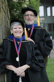 Graduating in 1969, Gary and Lou McCelland finally got to walk down the hill Sunday, May 22, 2011, during KU's commencement ceremony.