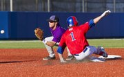 Kansas Kevin Kuntz steals second base, beating the throw from the plate to second base. The Jayhawks fell in the season finale 10-6.
