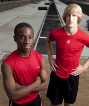 Lawrence High triple jumpers Steven Hill, left, and Austin Flory will be heading to Wichita this weekend to compete in the Class 6A state championships.