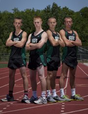 Members of the Free State boys 4x800 relay team, from left, Preston Newsome, Stan Skwarlo, Logan Sloan and Kain Anderson will participate in the 2011 Class 6A state meet, which starts Friday in Wichita.