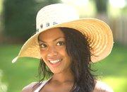 Badgley Mischka raffia hat with stone accents, $58 at Dillard's.