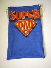 """Completed """"Super Dad"""" shoe bag."""