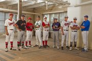The Journal-World All-Area baseball first team, from left, is: Alex Laughlin, Lawrence High; coach Brad Stoll, Lawrence High; Ross Johnson, Lawrence High; Colin Toalson, Free State; Ethan Lorance, Tonganoxie; Kyle Pattrick, Baldwin; Connor Goedert, Ottawa; Turner Roth, Ottawa; Dylan Turpin, Perry-Lecompton. Not pictured: Matt Sutliffe, Lawrence High; Cody Kukuk, Free State.