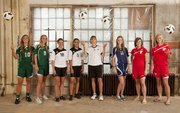 The All-Area girls soccer first team, from left, is: Kylee Loneker, Free State; Annie Libeer, Free State; Hauna Payne, Ottawa; Cydney Lewis, Ottawa; coach Kelly Smith, Ottawa; Lexi Brady, Seabury Academy; Alex Bartels, Tonganoxie; Ashley Kotowske, Tonganoxie. Not pictured: Margaux Gill, Free State; Sarah Stuever, Lawrence High; Hayley Rideout, Ottawa.