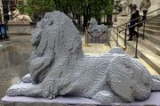 Nathan Sawaya's half-size, Lego versions of the iconic lion sculptures outside the New York Public Library are shown in this Friday, May 20, 2011 photo.