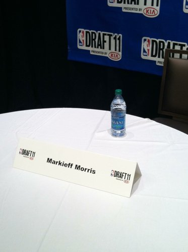 "Markieff Morris will sit at this table in ""The Green Room"" during the 2011 NBA Draft in New York."