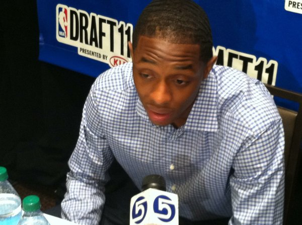 Kentucky guard Brandon Knight speaks with reporters at the 2011 NBA Draft media day Wednesday, June 22, 2011 in New York.
