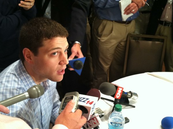 Jimmer Fredette speaks with the media at an NBA Cares event in New York on Wednesday, June 22, the day before the 2011 NBA draft.
