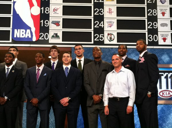 Potential NBA draft picks pose for a photo on stage before the 2011 draft Thursday, June 23 in New Jersey.