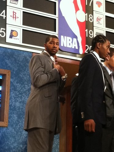 Markieff Morris prepares for predraft photos Thursday, June 23, 2011, in New York.