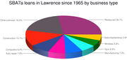 Percentage of top business categories receiving SBA7a loans in Lawrence. There have been 540 such loans made to Lawrence businesses since 1965. Loans to retail-based businesses, which numbered 131, are excluded in this graphic and broken down in a separate chart.