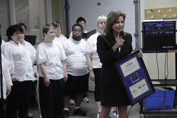 U.S. Rep. Lynn Jenkins received an AbilityOne Champion award Monday at Cottonwood Inc., 2801 W. 31st St. The award is given to lawmakers who have shown a commitment to improving the lives of Americans who have disabilities.
