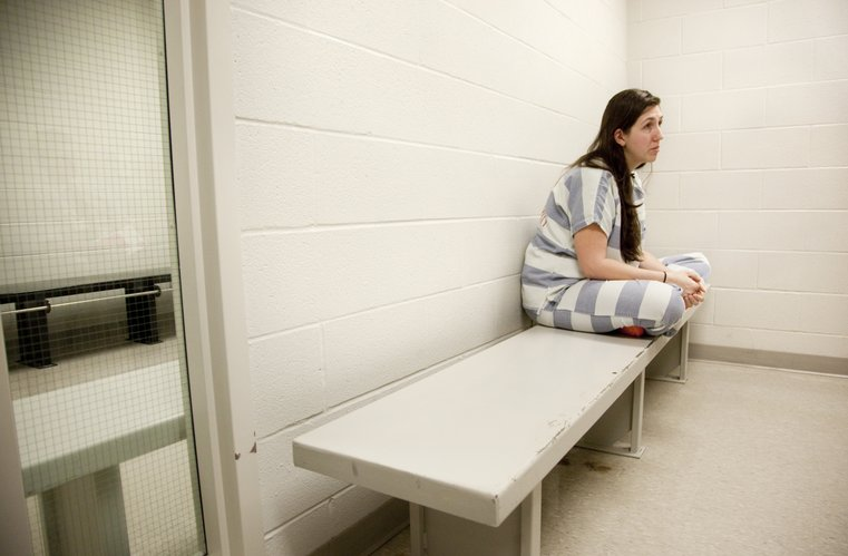 Rachel Perez sits on a bench during an interview from a holding cell at the Johnson County New Century Adult Detention Center, Tuesday, June 21, 2011. Perez is serving a 102-month sentence after pleading guilty to child abuse and attempted second-degree murder for leaving her 6-year-old son in the attic of her home in De Soto in August 2010. The boy weighed less than 20 pounds when found. Despite what prosecutors contend, Perez says that she had never put the boy in the attic or withheld food from him as punishment. She also hopes to eventually reunite with her children when she's released from prison. Perez could be paroled in late 2017.