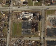 A damaged Irving Elementary School and surrounding neighborhood is seen May 24 in Joplin, Mo. While large neighborhoods have been lost, an effort is under way to preserve the history of the tornado itself.