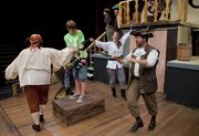 "The cast of ""How I Became a Pirate"" rehearses a scene July 6 at Theatre Lawrence, 1501 N.H. The show opens at 7:30 p.m. July 15."