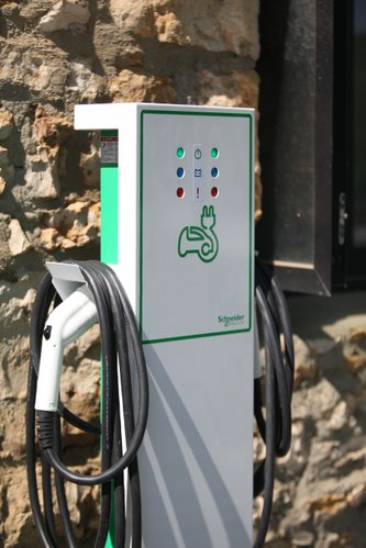 A charging station for electric cars is available at the site and is free to the public.