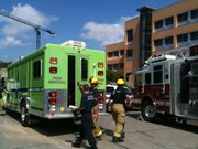 Crews from Lawrence Douglas County Fire & Medical, including the HazMat team, are on the scene of Learned Hall investigating a possible HazMat incident on July 13, 2011. Medical crews were seen tending to at least one person.