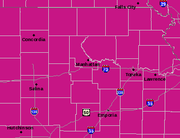 "An excessive heat warning covers all of northeast Kansas as well as adjoining areas of Nebraska and Missouri. The warning is in effect from Friday, July 15, 2011 at 1 p.m. until ""at least"" Tuesday, July 19, 2011 at 7 p.m."