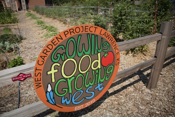 A sign at the West Middle School garden greets visitors.