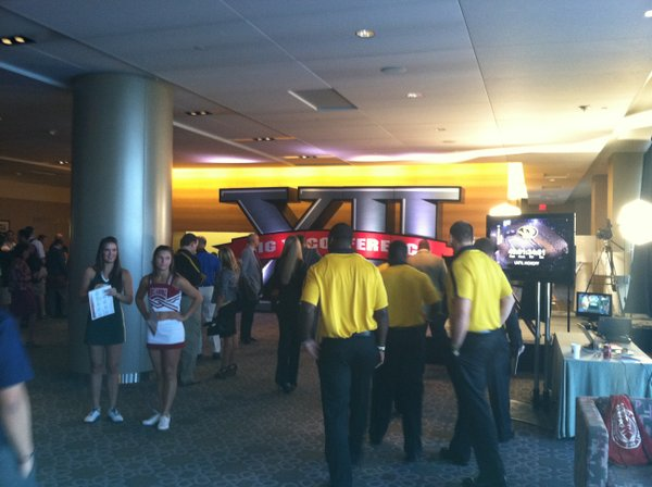 The lobby of the Westin Galleria in Dallas is buzzing with Big 12 flavor as the conference's 2011 football media days gets set to begin Day 1.