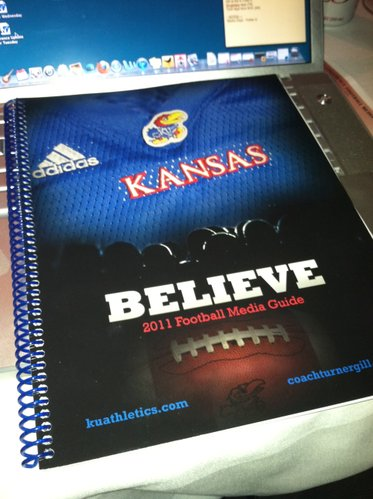 The 2011 Kansas University football media guide, first unveiled at the Big 12 media days in Dallas.