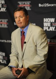 Oklahoma head coach Bob Stoops answers questions during NCAA college football Big 12 Media Days, Tuesday, July 26, 2011, in Dallas.