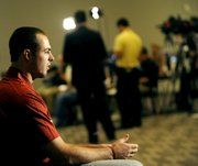 Oklahoma quarterback Landry Jones pauses between questions during NCAA college football Big 12 Media Days, Tuesday, July 26, 2011, in Dallas.